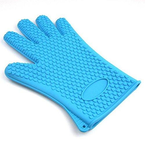 Jeeke Cooking Mitt Heat Resistant Gloves For KitchenBBQ BakingOven Pot HolderOven Mitts Sky Blue