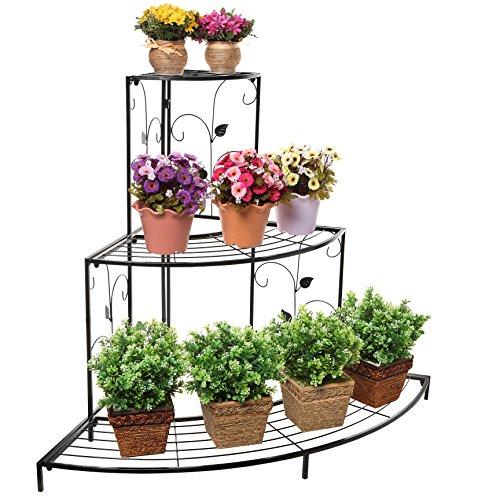 Black Floral Design Metal Step Style 3 Tier Corner Shelf Flower Pots Planters Display Stand  Shoe Rack