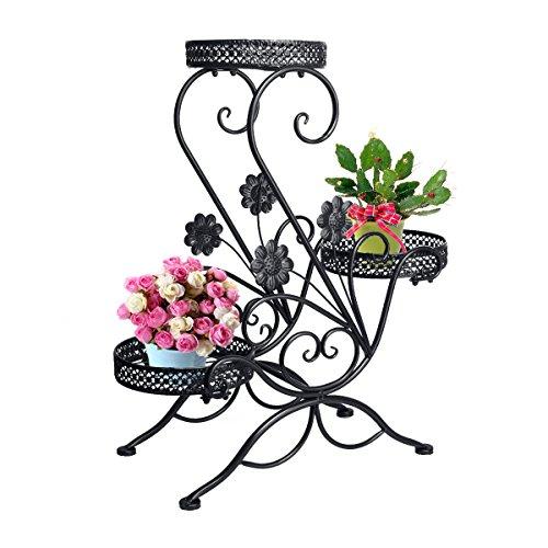 Dazone3-Tiered Scroll Decorative Metal Garden Patio Standing Plant Flower Pot Rack Display Shelf Holds 3-Flower Pot Black