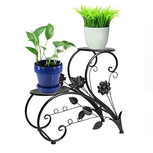 DazoneBlack Iron Flower Pot Rack Home Garden Patio Decor Display Stand Bonsai Holder