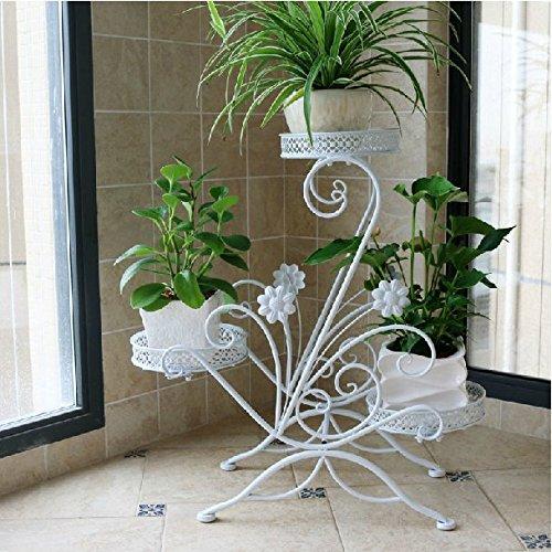 Dazone&reg 3-tiered Scroll Decorative Metal Garden Patio Standing Plant Flower Pot Rack Display Shelf Holds 3-flower