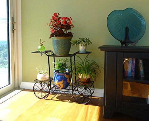 Elegant European Style Cart Design 6 Tier Black Metal Planter  Flower Pot Holder Display Rack Stand