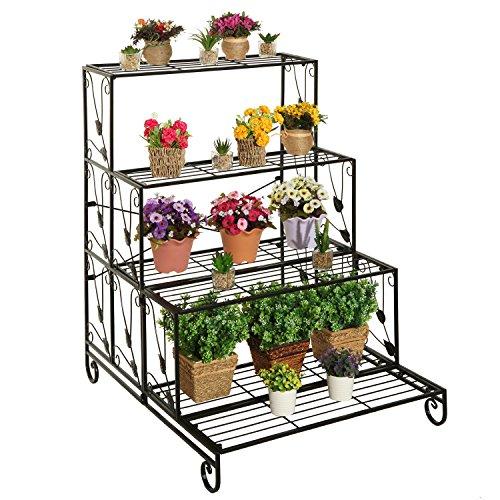 Large 4 Tier Black Metal Scrollworkamp Leaf Design Plant Flower Planter Pot Display Stand Organizer Rack