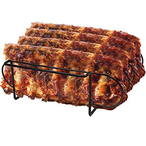 Sorbus&reg Non-stick Rib Rackndash Porcelain Coated Steel Roasting Standndash Holds 4 Rib Racks For Grillingamp Barbecuing