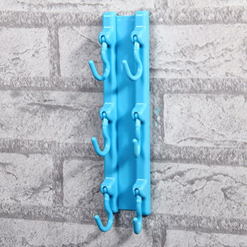 Strong Adhesive Hook Rack with 6 Hooks for Kitchen Tool Hanger Blue