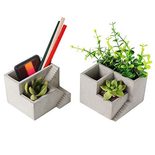 T4U Cement Succulent Planter Small Concrete Pot Herb Cactus Pen Pencil Holder with Compartments Flower Planter Container Desktop Organizer for Home Office Decoration Set of 2