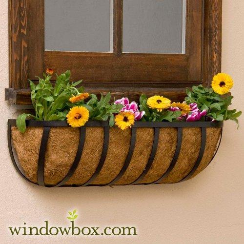 Standard English Garden Iron Hay Rack Window Basket W Coco Liner - 42 Inch