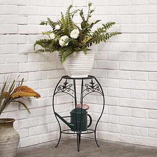 Amagabeli Classic Iron Arts 2 Layers Flowers Vase Stand Planter Pot Rack Planters Holder Flower Pot Rack 20&quot