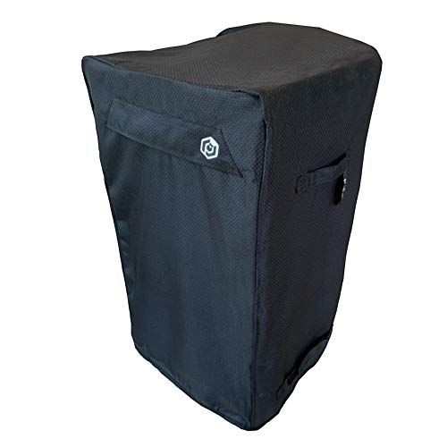 30-Inch Heavy Duty Electric Smoker Cover for Vertical Smokers - Black Diamond Polyester Waterproof Wind-Proof Fade and UV Resistant Features Vents Handles Straps Storage Bag Included