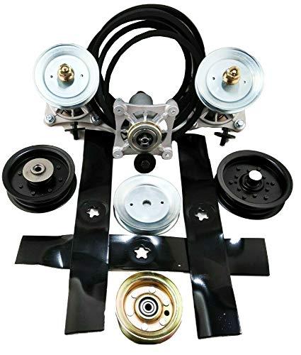 PROVEN PART Lawn Mower Deck Rebuild Kit Replaces Spindles Pulleys Idlers Belt Blades 532196104 532187292
