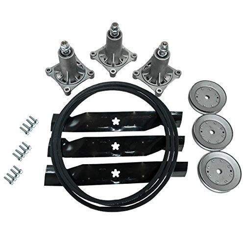 Replaces Husqvarna HUS YTH 2348 48 Lawn Mower Deck Rebuild Kit with Spindles Blades Belt Pulleys 532197242 532173921 532187292 532153532