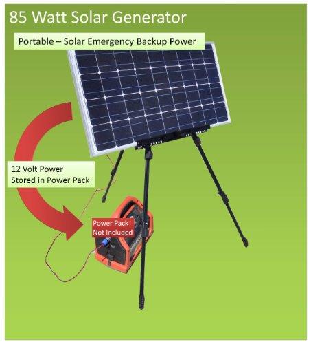 Emergency Survival Solar Generator - Easy Portable 85watt Dc Solar Backup Power