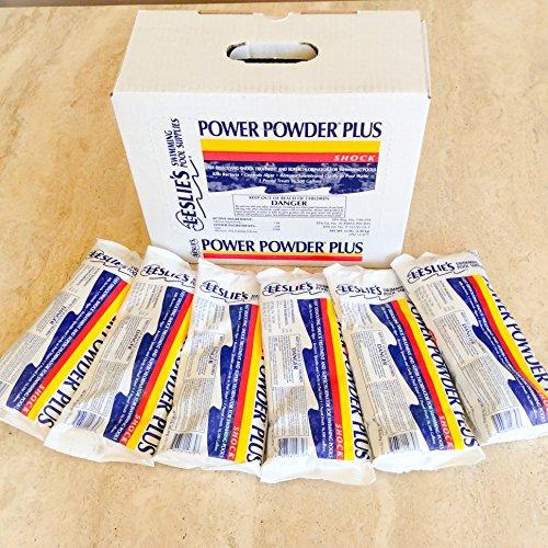 Leslies Power Powder Shock Superchlorinator for Swimming Pools 1 LB Pack of 6