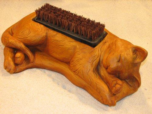 Cat Boot Brush 155&quot Kitten Shoe Scraper Burnt Orange Stain Cement Outdoor Garden Doorway Decor