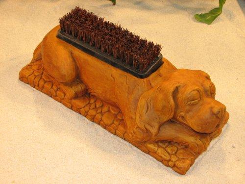 Dog Boot Brush Concrete Burnt Orange Stain 17&quot Puppy Shoe Scraper Cast Cement Outdoor Garden