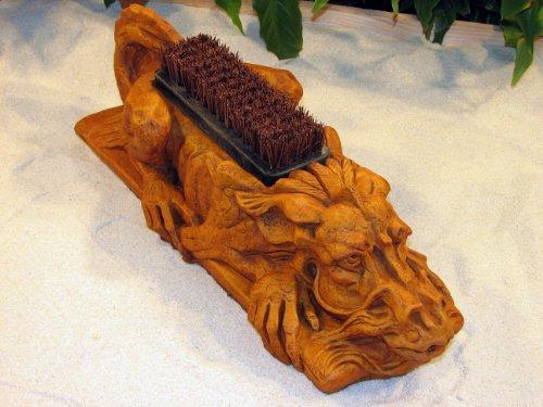 Dragon Boot Brush Concrete Burnt Orange Stain 20&quot Cast Cement Outdoor Garden Shoe Scraper