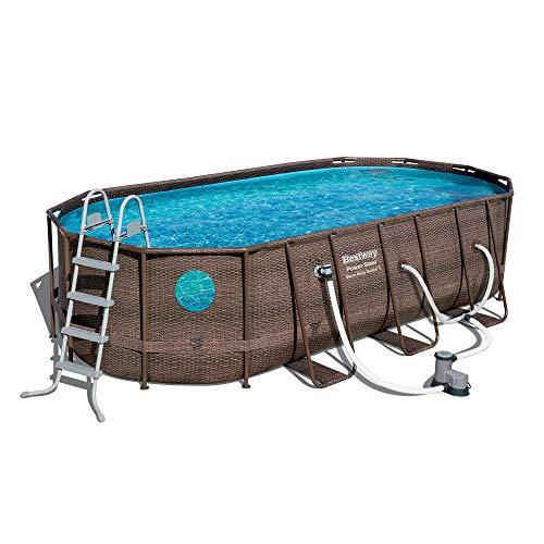 Bestway 18ft x 9ft x 48in Power Steel Frame Swim Vista Swimming Pool Set Pump