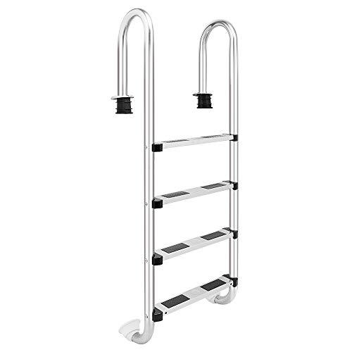 KepooMan Stainless Steel Swimming Pool Ladder Heavy Duty Swim Step Pool Ladder for In Ground Pools4 Step Pool Ladder