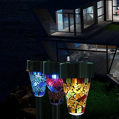 Solar Led Grasss Light mosaic Border Path Grass Lighting White Stainless Steel Lamp Garden Decorate Light Home