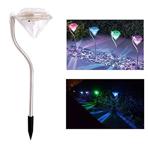 WDA 4 x Diamond Solar Lights Stake Lights for Garden Yard Pool Outdoor Waterproof Stainless Steel Lighting Color Changing