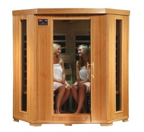 4 Person Corner Sauna Far Infrared 10 Carbon Heaters Hemlock Cd Player Mp3 Aux New