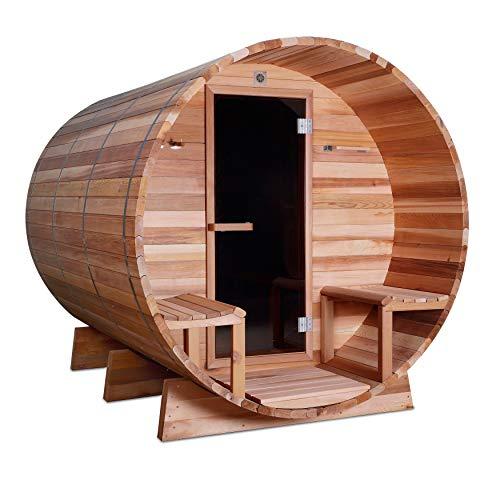 ALEKO Rustic Red Cedar Indoor Outdoor Wet Dry Barrel Sauna with Front Porch Canopy and 9 kW ETL Certified Heater 8 Person 93 x 72 x 75 Inches