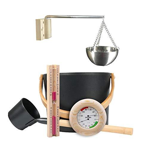 Betfandeful Sauna Bucket 7L Luxury Finnish Sauna Aluminum Bucket with Long Handle Spoon Hourglass ThermometerHygrometer Kit Sauna Aluminum Bucket Kit