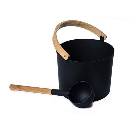 IMCROWN Sauna Bucket7L Luxurious Finnish Sauna Aluminum Bucket with Long Handle Spoon Set Matching Ladle Sauna Spa Accessory Sauna Barrel Wooden Handles