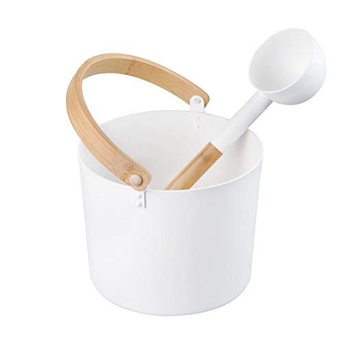 biliten 7L Luxurious Finnish Sauna Aluminum Bucket with Long Handle Spoon Set Matching Ladle Sauna Barrel