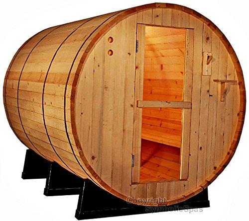 4 Person Outdoor 6 Ft Barrel Steam Sauna Red Cedar Wood - 6KW Wet Dry Heater 220V 28 Amp - 1 Year Parts Warranty - Model 6FTCDR-sds