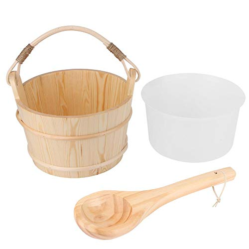 Qioni Sauna Bucket 6L High Capacity Wooden Sauna Bucket with Ladle Sauna Barrel Sauna Steam Room Accessory for SaunaBathSpaSwimming PoolMassage BathtubShower
