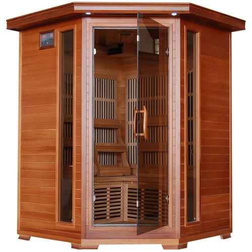 Radiant Saunas BSA1312 3-Person Cedar Corner Infrared Sauna w 7 Carbon Heaters