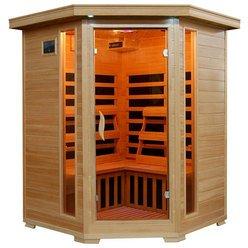 Santa Fe 3 Person Solid Hemlock Wood Corner Unit Infrared Sauna Wcarbon Heaters
