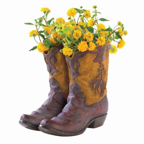 Pair Of Boots Cowboy Planter Planters Garden Decor Home Garden Decor Garden Sculptures