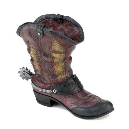 Set Of 2 Spurred Cowboy Boot Planter