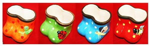 Set Of 4 Adorable Stoneware Rain Boot Planters