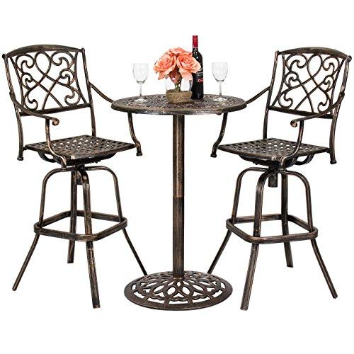 Best Choice Proucts 3-Piece Outdoor Cast Aluminum Bistro Set for Patio Porch w 2 360-Swivel Chairs - Antique Copper