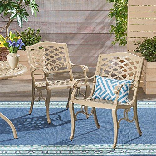 Christopher Knight Home 305654 TSA Outdoor Cast Aluminum Arm Chair Set of 2 Sand