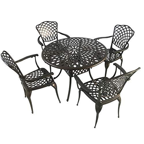 Kinger Home 5-Piece Cast Aluminum Patio Dining Set w 4 Chairs Umbrella Hole Lattice Weave Design - Brown