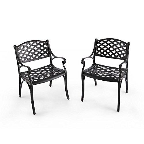 Nuu Garden Outdoor Furniture Solid Cast Aluminum Patio Conversation Dining Arm Chair CD002 Antique Bronze Set of 2