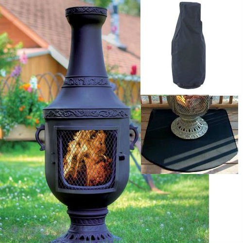 Blue Rooster Venetian Style Wood Burning Outdoor Metal Chiminea Fireplace Charcoal Color With Cover And Half Round