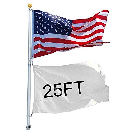 Yeshom 25ft Telescopic 16 Gauge Aluminum Flag Pole 3x5 US Flag Ball Top Kit Telescoping Flagpole Fly 2 Flags Outdoor