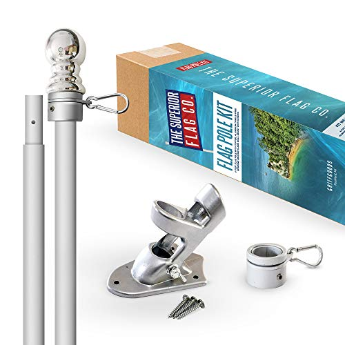 Heavy-Duty 6 Ft Flag Pole Kit with Silver Ball Topper Aluminum Tangle-Free Spinning Rings and Bracket Wind Resistant and Rust-Free 1in Diameter Flagpole Set for House Porch or Business