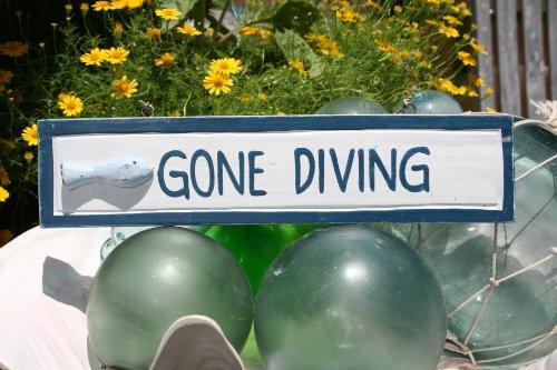 &quotgone Diving&quot Nautical Sign 12&quot Blue - Beach Decor