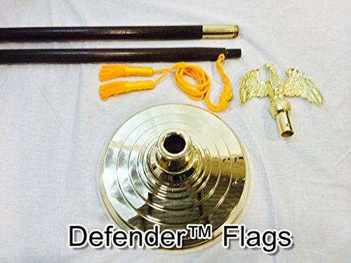 8 Ft Indoor Flagpole Kit Parade Mounting Set With Eagle Premium Oak Pole Base and Tassel No Flag Included Defender FlagsTM Brand