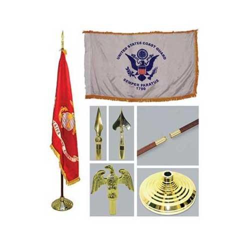 Coast Guard 3ft X 5ft Indoor Flag Flagpole Base And Tassel