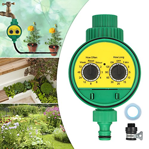 Jeteven Single Faucet Timer Water Timer 1-Outlet Hose Faucet Timer Automatic On Off Water Faucet Hose suit for Drip Irrigation Kit Garden Flowers and Lawn