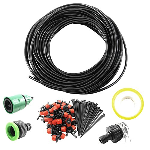 25m Micro Drip Irrigation System Plant Self Watering Garden Hose Kits Drippers green Faucet