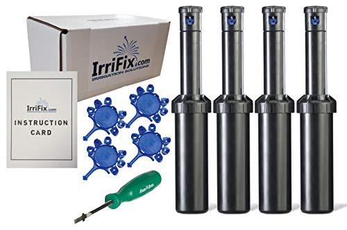 IrriFix Box Set - RainBird 3504PC Adjustable Arc Rotor Sprinkler Heads  Set of 4-3500 Pro Series 4 Inch Part Circle  Including Nozzle Trees RotorTool Screwdriver and Instruction Card