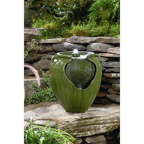 Essential Garden Outdoor Green Glazed Pot Fountain Yard Garden Deck Decor